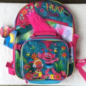 Trolls Backpack with detachable lunch kit NWT Cute